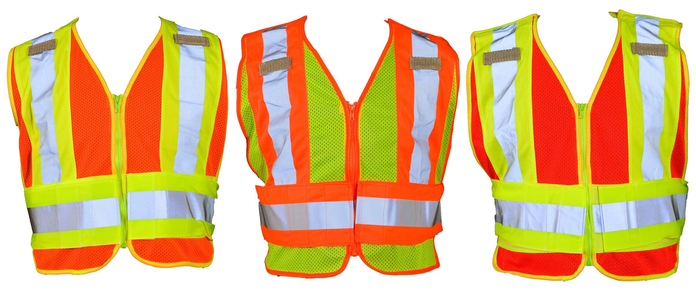 ANSI ISEA 207 2006 Public Safety Vest Lime Orange Red Fabric Mesh Or Solid 3M Scotchlite Contrasting Reflective Stripes Tearaway2 Microphone Tabs